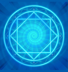Magic circle Sacred geometry glowing neon lines vector image