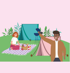 man using smartphone woman in blanket tent camping vector image
