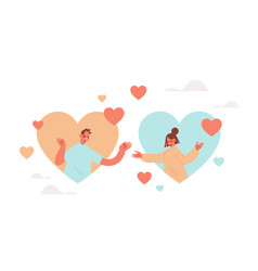 man woman chatting in online dating app couple in vector image
