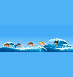 many children swimming in the ocean vector image