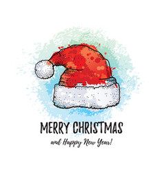 merry christmas greeting card santa claus hat vector image