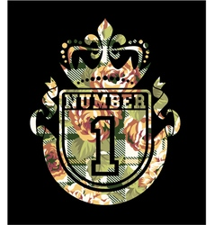 Number 1 coat of arms with roses and tartan vector image