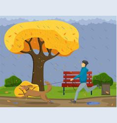 Owner runs with dog in autumn rainy park vector