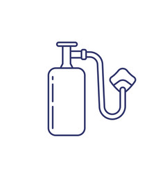 Oxygen tank with mask line icon vector