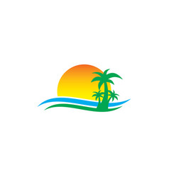Palm tree sunset travel island vector