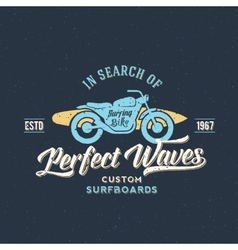 Perfect Waves Bike with Surfboard Abstract Retro vector image vector image