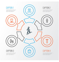 person outline icons set collection of worker vector image