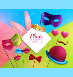 photo booth party 3d composition vector image