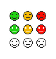 pixel emoji symbol faces emotion set vector image