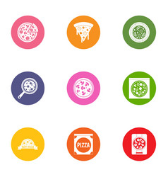 pizza food icons set flat style vector image