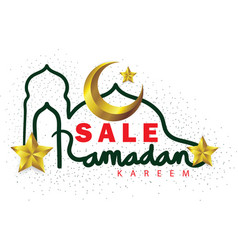 Ramadan kareem sale lettering with gold crescent vector