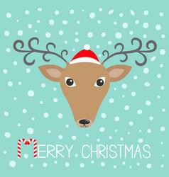 reindeeer head in santa claus hat merry christmas vector image