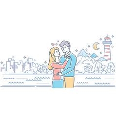 Romantic date - colorful line design style vector