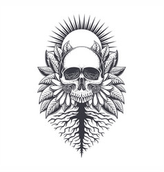 root skull decoration vector image