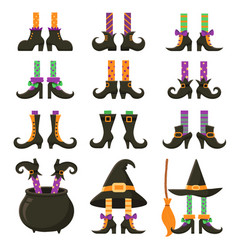 Scary witch legs halloween witches leg stockings vector