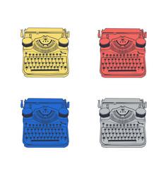 Set 4 vintage typewriters color vector