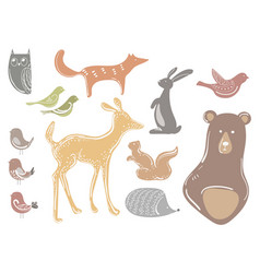 Set of cartoon animals and birds stylized vector