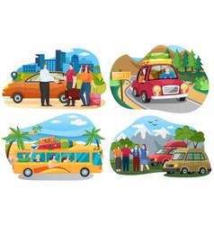 set on theme traveling around vector image