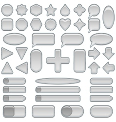 Silver glass buttons set vector image
