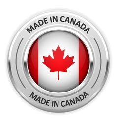 Silver medal Made in Canada with flag vector
