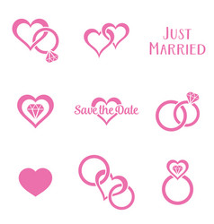 Simple monochrome wedding symbols vector