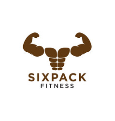 Sixpack belly and strong muscle logo design vector