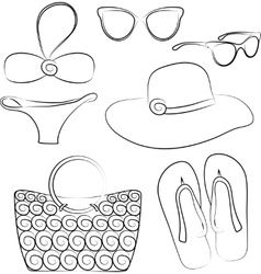 summer beach accessories set vector image