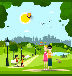 summer day in park with couple in love friends vector image