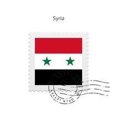 Syria Flag Postage Stamp vector