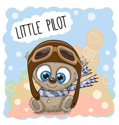 teddy bear in a pilot hat vector image