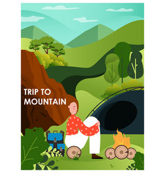 trip to mountains poster banner template happy vector image