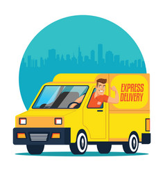Truck delivery with driver vector