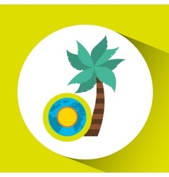 Vacation around world sunny palm vector