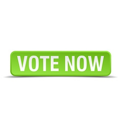 Vote now green 3d realistic square isolated button vector