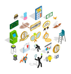 win at competition icons set isometric style vector image