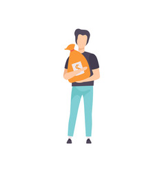 young man holding money bag with dollar sign vector image