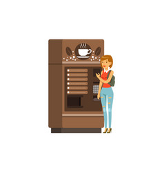 Young woman using coffee vending machine vector