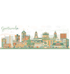 abstract guatemala skyline with color buildings vector image vector image