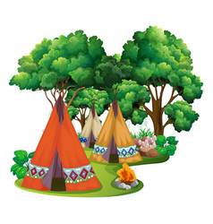 camping site with teepees and campfire vector image vector image