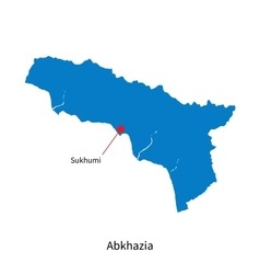 Detailed map of Abkhazia and capital city Sukhumi vector image vector image