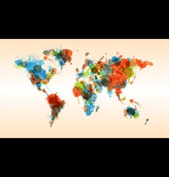 Grunge colorful world map vector image