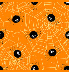 halloween seamless background with spiders and web vector image