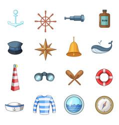 nautical icons set cartoon style vector image vector image