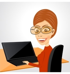 secretary sitting at table with laptop vector image