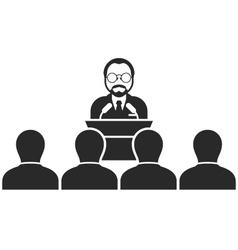 Speaker or politician at rostrum - seminar vector image vector image