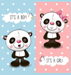Baby shower greeting card with pandas vector