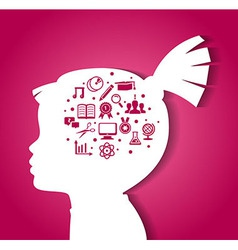 Child head with education icons vector image vector image