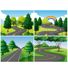 four scenes of roads in the park vector image