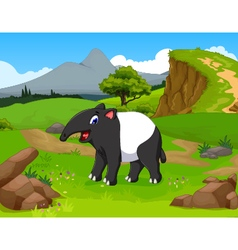 funny tapir cartoon in the jungle vector image vector image