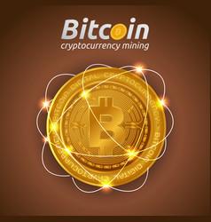 golden bitcoin in shining light effect on dark vector image